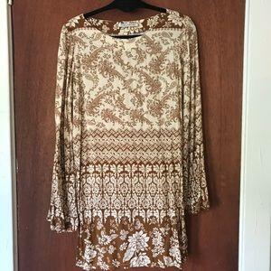 Novella Royale brown print long sleeve dress